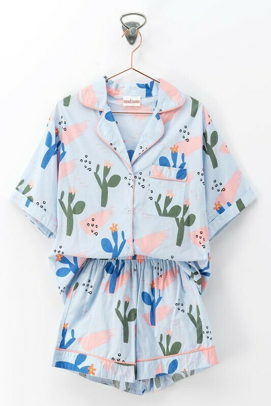 CACTUS PRINT SHIRT PAJAMA SET WITH SHORTS