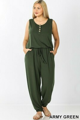 PLUS SLEEVELESS JOGGER JUMPSUIT