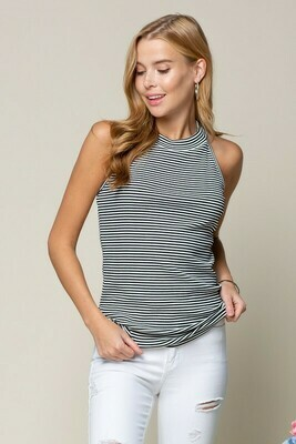 Mock Neck Top with Strappy Back