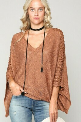 V-Neck knit Sweater with open weave detail along arm
