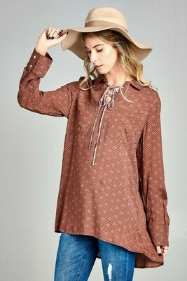 Washed Collared Shirt with Lace- Up Neck