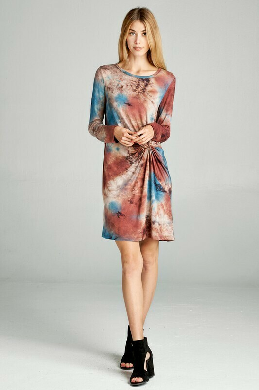 Tie Dye Printed Knit dress with gathered side