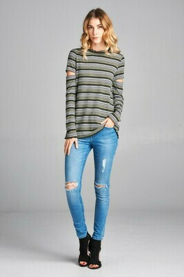 Long Sleeved, Multi-Colored Knit Sweater Top