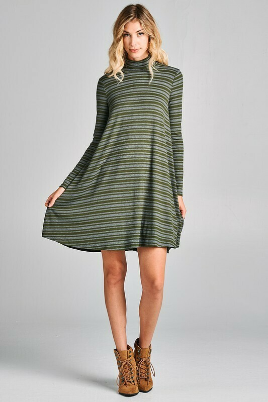 Striped Swing Dress w/ turtle neck collar