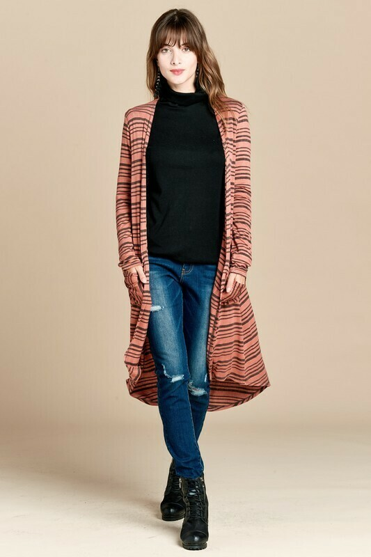 Stripe Rib Knit Pocketed Cardigan