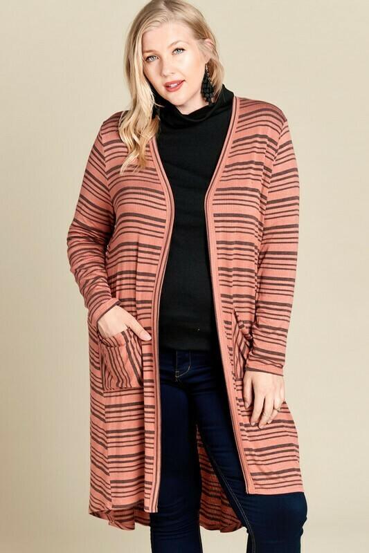Plus Stripe Rib Knit Pocketed Cardigan