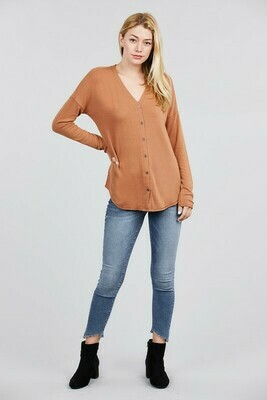 Long Sleeve v-neck button down brushed cardigan