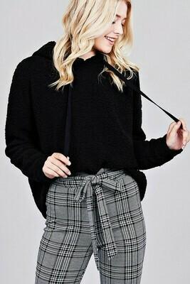 Long sleeve hoodie drawstring faux fur top