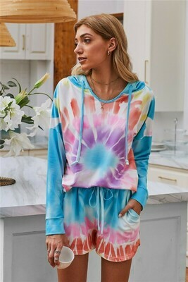 Tie Dye Pajamas Loungewear set Multicolor
