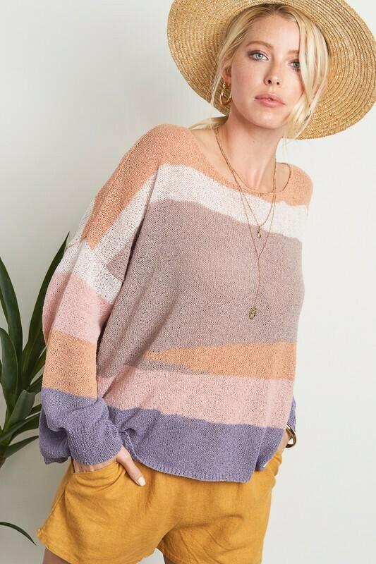 Pastel Tone Stripe Sweater