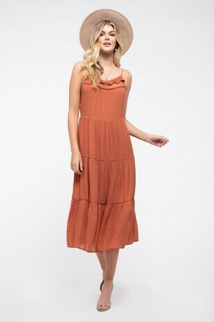 Crochet Trim Midi Dress