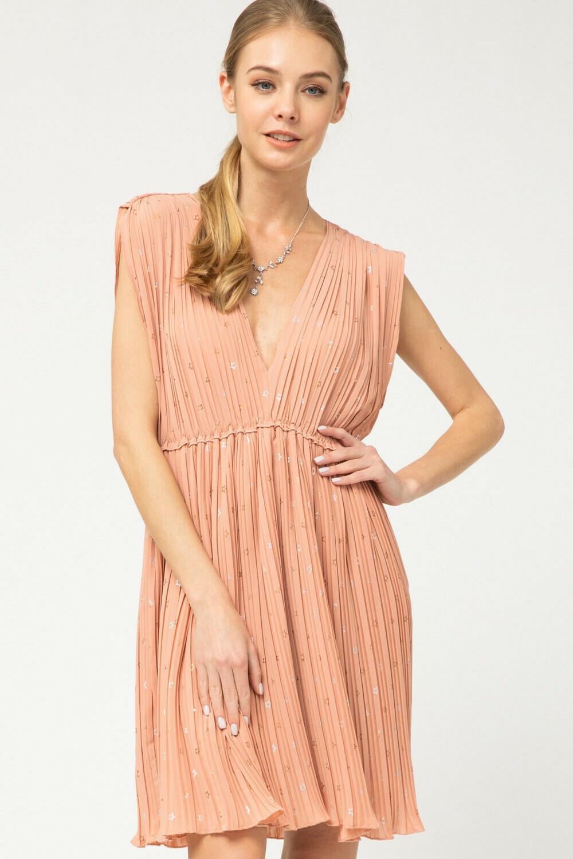 Star print plunging v-neck dress