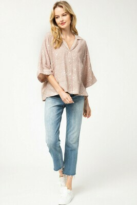 Star print wide sleeve button-up top