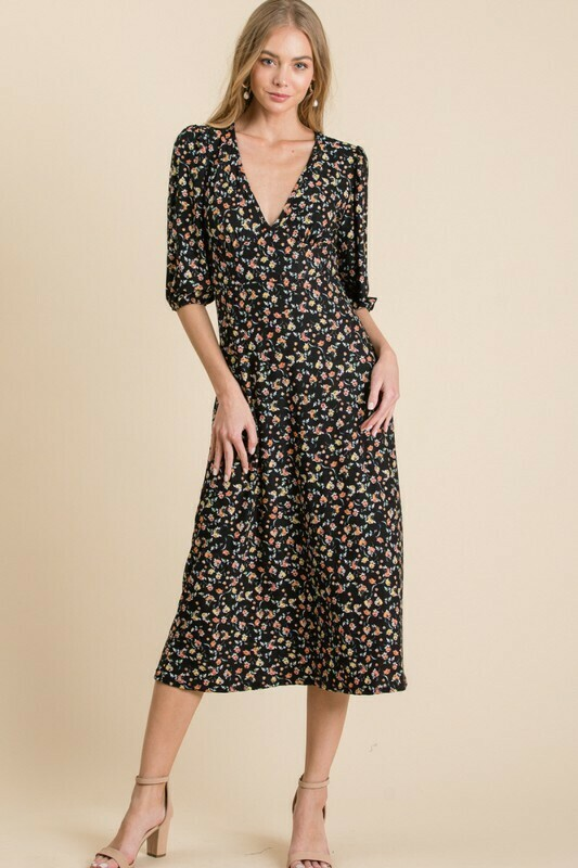 Black Flower Print Midi Dress
