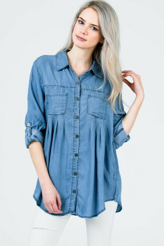 Button Down Roll-up Chambray Shirt