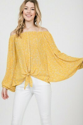 Textile Print Off-Shoulder Dolman Sleeve