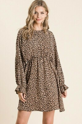 Cheetah Print Dolmen Long Sleeve Midi Dress
