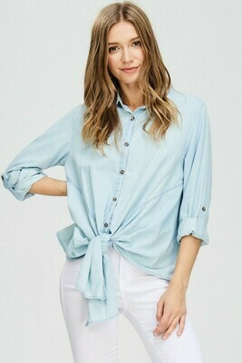 Button Down Tie Front Roll-up Shirt