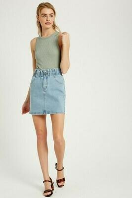 Shirred Waist Denim Skirt