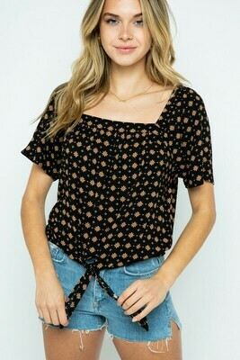 Medallion Print Square Neck Front Tie Top