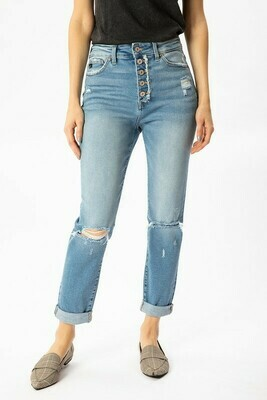 KanCan Button Fly Distressed Boyfriend Jean