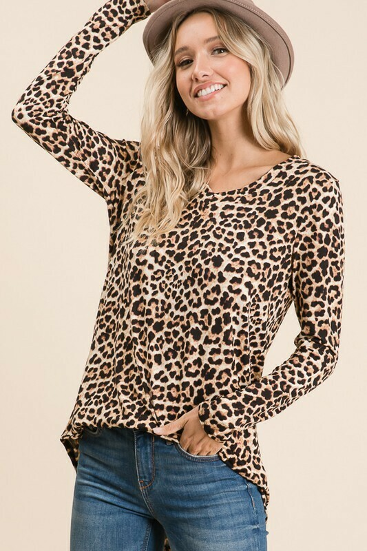 Leopard Long Sleeve Tunic Top