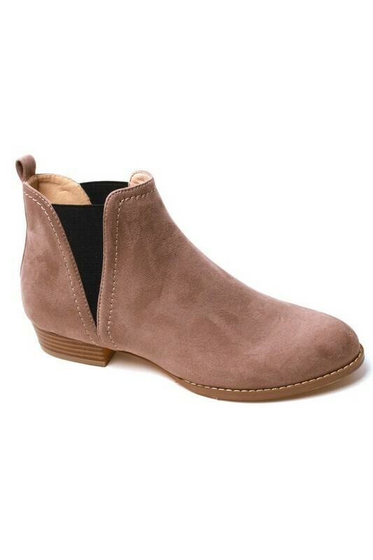 Taupe V Cut Booties