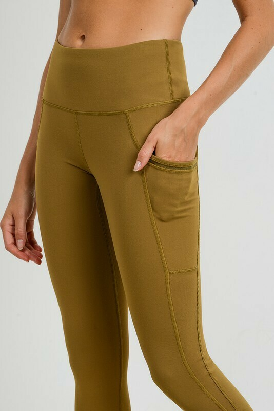 Highwaisted Side-Mesh & Slit Full Leggings