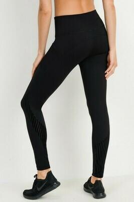 Highwaisted Leggings with Black Burnout Velvet Splicing