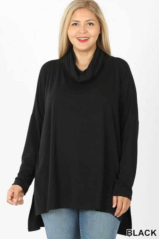 Plus Cowl Neck Long Sleeve High Low Top
