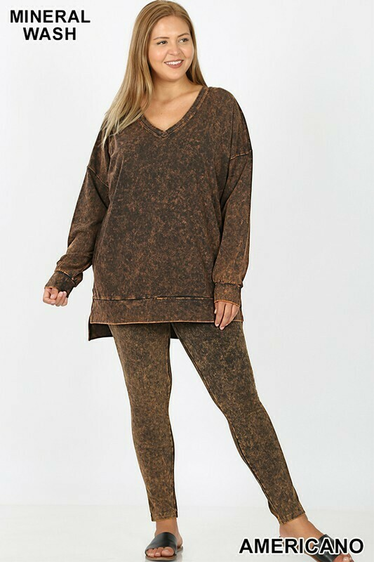 Mineral Wash Long Sleeve V- Neck