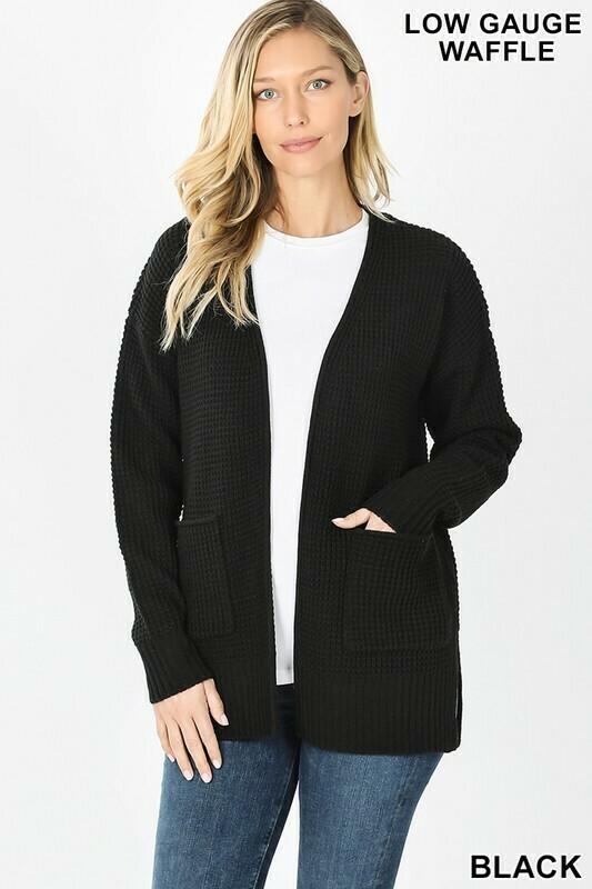 Black Waffle Open Cardigan Sweater