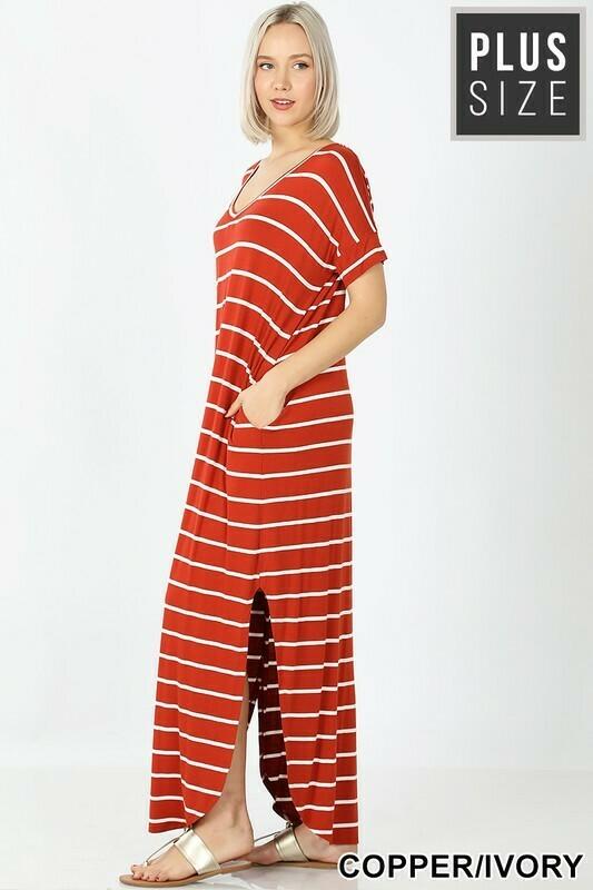 Plus Stripe Maxi Dress with Pockets