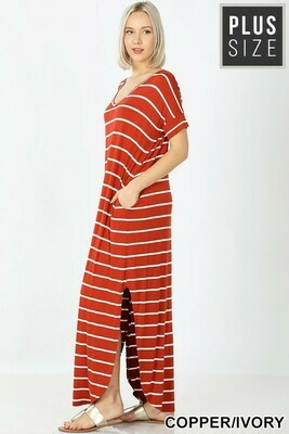 Plus Stripe Maxi Dress with Pockets