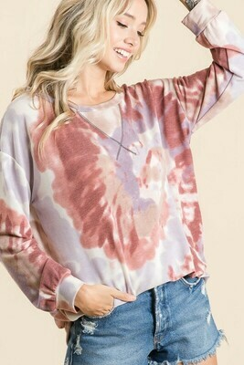 Tie Dye Terry Pull Over with Front Stitching detail
