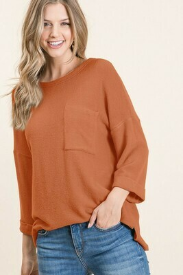 Cashmere Brushed Knit Round Neck 3/4 Sleeve Top