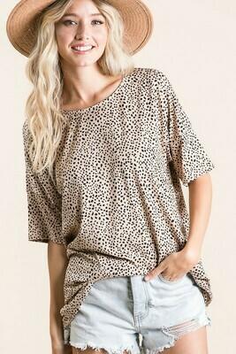 Leopard Tunic With Drop Shoulder Design