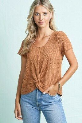 Waffle Knit Knotted Front with Tie Back