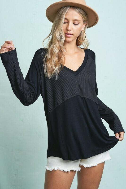 Multi Fabric V- Neck Casual Top