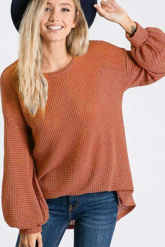 Popcorn Waffle Knit Top with Balloon Sleeves