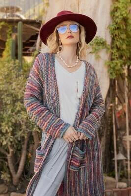 Teal Rainbow Stripe Mid Length Cardigan