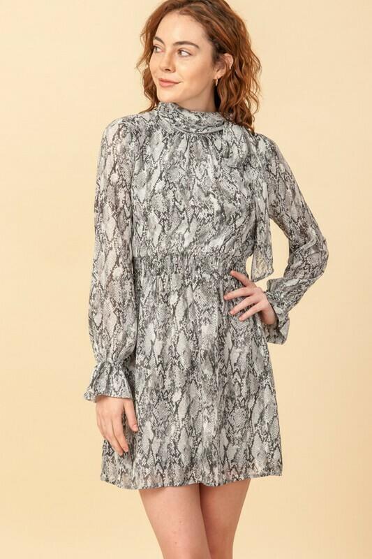 Snake Print Shirred Waist Dress with Neck Bow