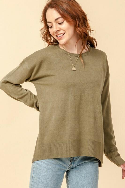 Crew Neck Long Sleeve Loose Sweater