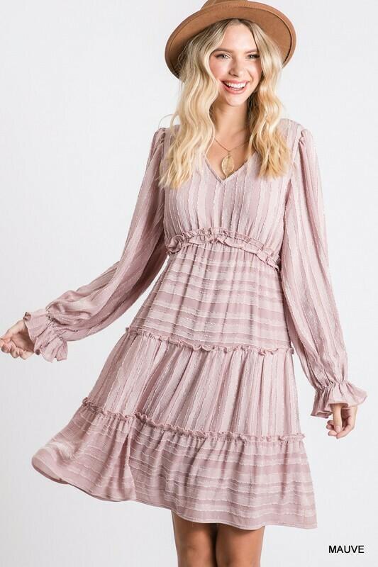 Textured Stripe Tiered Baby Doll Dress