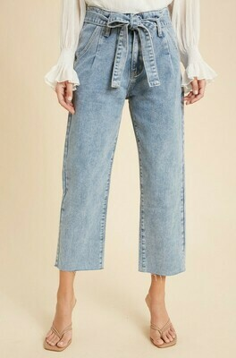 BELTED PAPERBAG DENIM JEANS