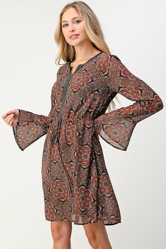 Multi Pattern Flare Sleeve Dress