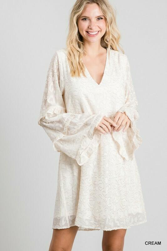 Metallic Textured Ruffled Sleeve Dress
