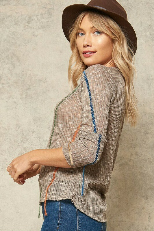 Two-Toned Zigzag Embroidered Sweater