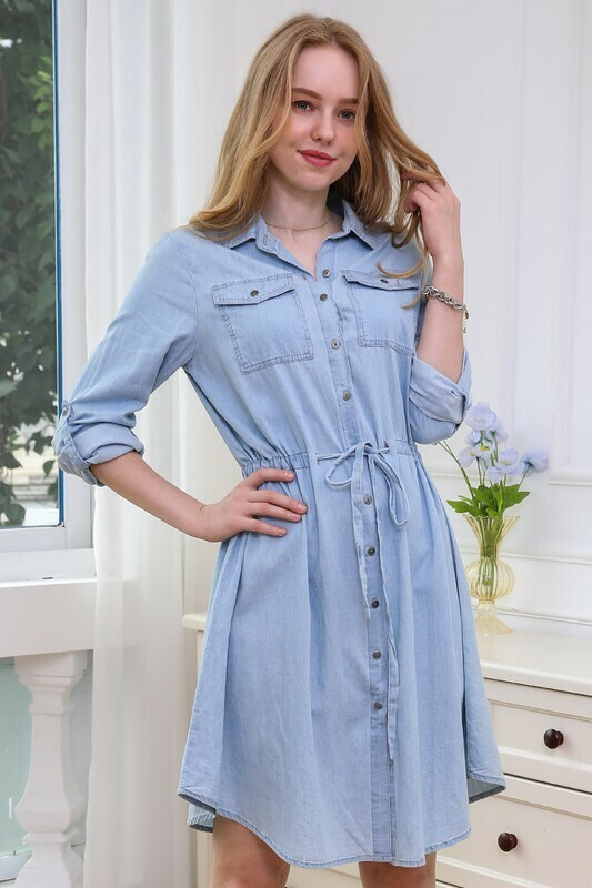 Button up Chambray Dress with Drawstring Waistband