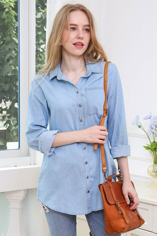 Denim Chambray Button up Long Sleeve